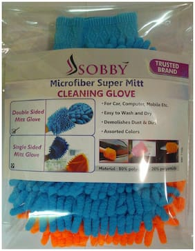 Sobby Set of 2 Microfiber Double Sided Mitt Dusting Cleaning Gloves for Home Office Kitchen Hotel (Assorted Colors)