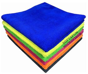 SOFTSPUN Microfiber Car Cleaning, Polishing & Detailing Towel Cloth - 30X30 cm - MULTICOLOR -5Pc