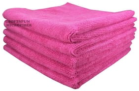 SOFTSPUN Microfiber Car Cleaning, Polishing & Detailing Towel Cloth - 50X50 cm - PINK -5Pc