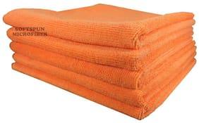 SOFTSPUN Microfiber Car Cleaning, Polishing & Detailing Towel Cloth - 50X50 cm - ORANGE -5Pc