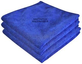 SOFTSPUN Microfiber Car Cleaning, Polishing & Detailing Towel Cloth - 30X30 cm - BLUE -3Pc
