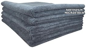 SOFTSPUN Microfiber Car Cleaning, Polishing & Detailing Towel Cloth - 40X40 cm - GREY -5Pc