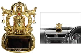 Solar Powered Car Dashboard God Idol - T2 Tibetan Twin Prayer Wheel