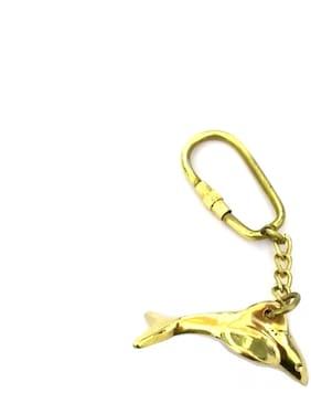 Solid Brass Dolphin Fish Keychain