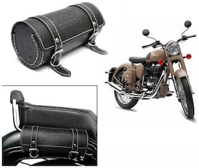 Spedy Bike Leatherette Seat Sadle Bag Black For Royal Enfield Classic Desert Storm