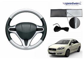 Speedwav Black & Silver Stitchable Car Steering Cover M-Fiat Linea
