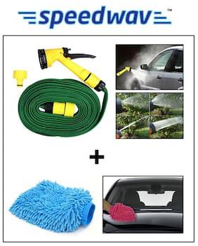 Speedwav Car Cleaning Combo of 10m Water Spray Hose Gun + Speedwav Microfiber Glove