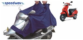 Speedwav Scooter Raincoat For Driver And Pillion Rider Blue-Honda Activa