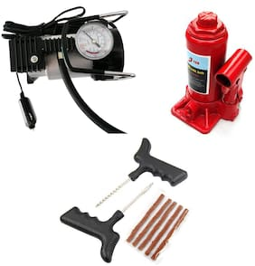 Spidy Moto 3 Ton Hydraulic Car Jack + Autocut-off Premium Metal Air Compressor + Tyre Punture Repair Kit Combo