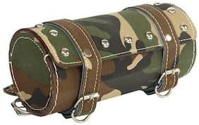 Spidy Moto Bike Leatherette Seat Army Print Round Saddle Bag Royal Enfield Classic
