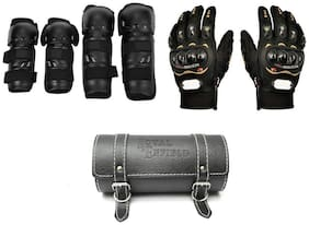 Spidy Moto Bike Accessories Combo Of Fox Riding Knee and Elbow Guard, Hand Gloves,Round Saddle Bag (Pack Of 3 )