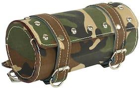 Spidy Moto Bike Leatherette Seat Army Print Round Saddle Bag Royal Enfield Electra