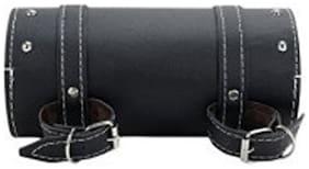 Spidy Moto Bike Leatherette Seat Black Round Saddle Bag Royal Enfield Electra Twin Spark