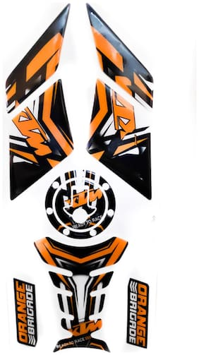 Spidy Moto Combo of Tank Pad, Fuel Cap Protector, Side Knee Grip Pad Decals Sticker Combo 040 For Duke
