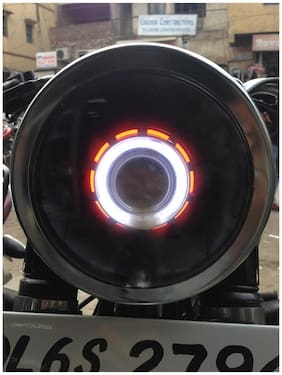 Spidy Moto H4 Bullet Projector Daymaker LED Light Headlight Royal Enfield Classic Chrome