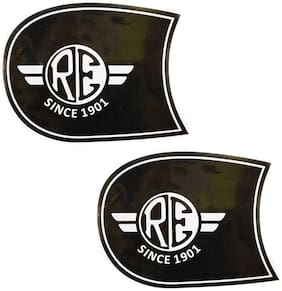 Spidy Moto Tank & Tool Box Sticker Logo Black for Royal Enfield Bullet Classic Desert Storm, Classic 500, Classic Chrome, Classic, Classic 350