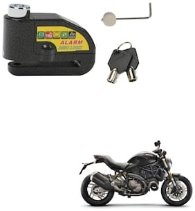 SRPHERE Motorcycle/Bike Brake Disc Security Alarm Lock Padlock, Black For Ducati Monster 821