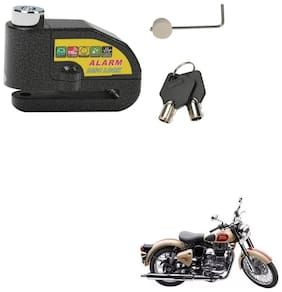 SRPHERE Motorcycle/Bike Brake Disc Security Alarm Lock Padlock, Black For Royal Enfield Classic 500