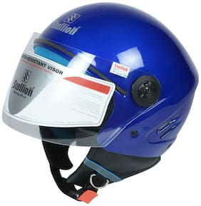 Stallion BLK K10 Open Face Navy Blue Motorbike Helmet