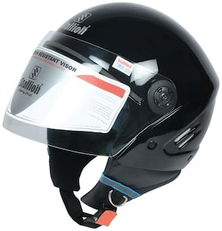 Stallion BLK K10 Open Face Black Motorbike Helmet