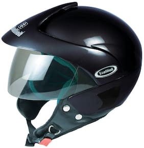 Stallion Blk Triomax Open Face Gloss Black Helmet