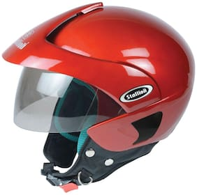 Stallion BLK Triomax Open Face Helmet Red
