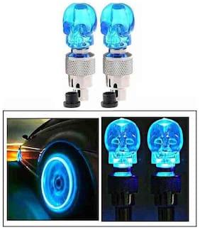 STAR SHINE Bike Skull Blue Set of 2 Tyre Led Motion Sensor Light For Royal Bullet Classic 350-Set of 1