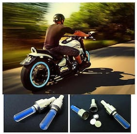 STAR SHINE Bike Pencil Blue Set of 2 Tyre Led Motion Sensor Light For Royal Bullet Classic 350-Set of 1