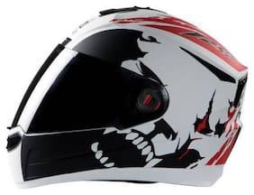 Steelbird AIR SBA-1 Beast Motorbike Helmet (Beast Mat White with Red)