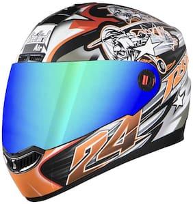 Steelbird Men's ISI Certified Bargy Design Graphics Helmet - Hovering Gattlmossy Finish with Rainbow Visor (Large 600MM  Matt Black with Orange) + Free extra transparent visor