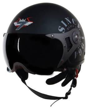 Steelbird SB-27 7Wings Tank Motorbike Helmet Black Color