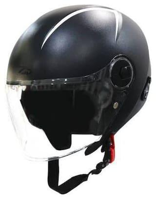 Steelbird SBH-20 Reflective Open Face Helmet in Black Motorbike Helmet Black Color