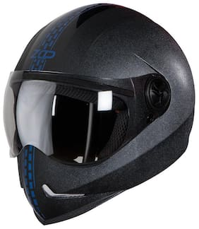 Steelbird SB-50 Adonis Zap Dashing Full Face Helmet Black with Blue (Large 600 MM;Plain Visor)