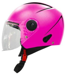 Steelbird SBH-20 Reflective Open Face Helmet in Pink Motorbike Helmet Pink Color