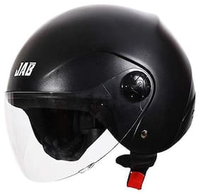 Steelbird SB-02 Classic Jab open Face Helmet for Men and Women (Large 600 MM;Natural Black with Plain Visor)