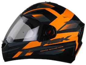 e8457442c STEELBIRD SBA-1 R2K FULL FACE HELMET MATT BLACK   ORANGE WITH SMOKE VISOR  LARGE