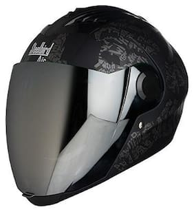 Steelbird SBA-2 Strength Stylish bike full face helmet with free transparent Visor for night vision (600MM;Black with Grey - Silver Mirror Visor)
