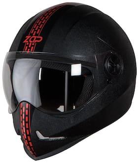 Steelbird SB-50 Adonis Zap Dashing Full Face Helmet Black with Red (Large 600 MM;Plain Visor)