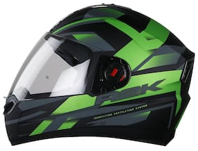 f5ab2a8a STEELBIRD SBA-1 R2K FULL FACE HELMET MATT BLACK / GREEN WITH SMOKE VISOR  MEDIUM