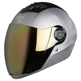 Steelbird SBA-2 Glossy Full Face Helmet Mat Silver With Free Transparent Visor For Night Vision;