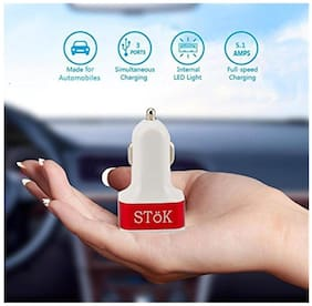 SToK 5.1 Amp Output with 3 USB Port Compatible Certified Car Charger For All Smartphones And Tablets - Smallest Car Charger With 3 Fast Charging USB Ports - Red & White
