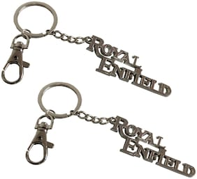 Stylewell (Set Of 2) Premium Synthetic Metal Base (Medium Size) Royal Enfield Metallic Toy Key Ring/Keychain For Bikes/Scooty And Cars (Golden)