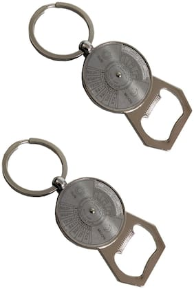 Stylewell (Set Of 2) Premium Synthetic Metal Base Unisex 50 Years Calendar With Bottle Opener Metallic Toy Key Ring/Keychain For Bikes/Scooty And Cars (Silver)