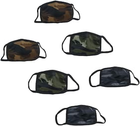 Stylewell (Set Of 6) Army/Military Color Anti-Dust Pollution UV Sun Rays Protection Flexible Face Mask Covers Mouth & Nose For Men & Women Heavy-Duty Air-Purifying Filtration Respirator (Free Size)
