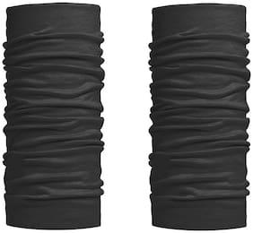 Stylewell (Set Of 2) Unisex Multi-Purpose & Multi-Functional Lightweight Soft Nylon Seamless Reversible Casual Sun Protection Face Mask/Skull & Beanie Caps/Headwraps/Bandana Band (Free Size; Black)