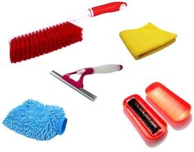 Stylewell Set Of Hard & Long Bristles Plastic Brush;Microfiber Washing Cleaning Hand Glove;Clean Polish Towel Microfiber Cloth;Magic Roller Dust Cleaning Brush & Window Sprayer Type Glass Wiper