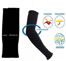 Summer skin Protection with Cooling Effect sleeve Men & Women-AQUA Arm sleeve(Size:Free Black)