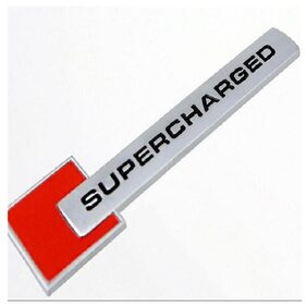 Supercharged Red Racing Sports 3D Badge Logo Sticker for Car