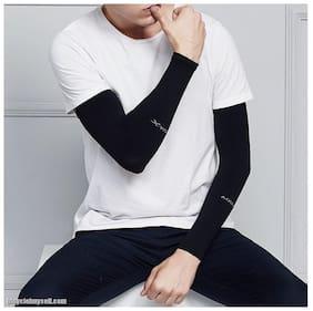 Sweat fabric Arm sleeves for men and women-AQUA Arm sleeve (Black)
