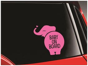 SYGA 'Baby On Board' Pink Elephant Car Stickers